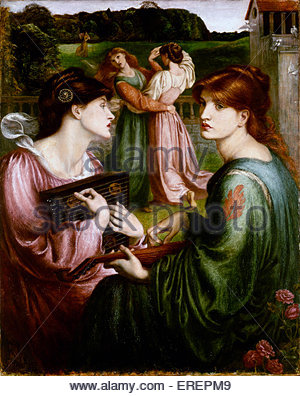 The Bower Meadow by Dante Gabriel Rossetti, 1850-1872. Background of  work painted outdoors, 1850, Sevenoaks, Kent, - Stock Photo
