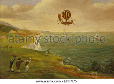 Jean-Pierre Blanchard and John Jeffries crossing the English Channel in 1785. Painting by unknown artist.  Blanchard: - Stock Photo
