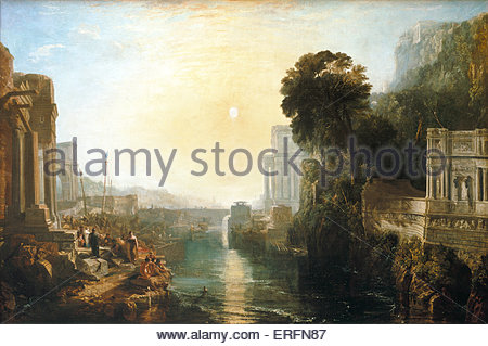'Dido building Carthage' or 'The Rise of the Carthaginian Empire' - painting by Joseph Mallord William Turner, 1815. - Stock Photo