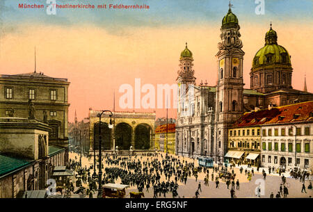 Munich, Germany: Theatinerkirche with Feldherrnhalle. (Theatine Church with Field Marshal 's Hall) - Stock Photo