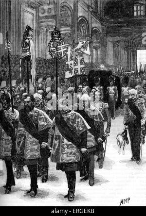 Burial of Arthur Wellesley, 1st Duke of Wellington.  State funeral on18 November 1852 at St. Paul's cathedral. Wellington - Stock Photo