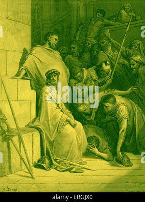 Jesus is mocked by Roman Soldiers before the crucifixion  'And they bowed the knee before Him and mocked Him, saying, - Stock Photo