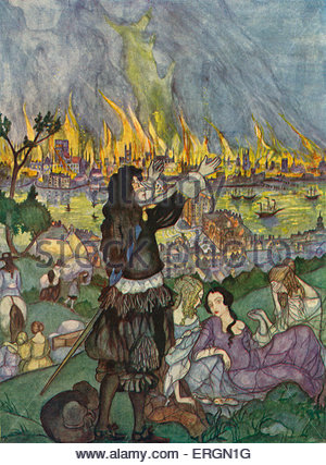 The Great Fire of London - illustration by  Kitty Shannon, 1926.  2 - 5 September 1666. - Stockfoto