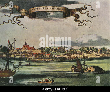 New Amsterdam, 17th century view. Dutch settlement established at the southern tip of Manhattan Island, United States. - Stock Photo