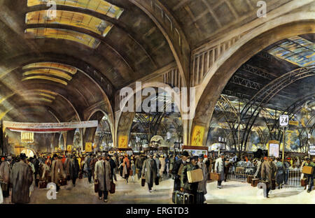 German Railways - Leipzig Central Railway Station during the fair. Watercolour by Rudolf Lipus. National Socialist - Stock Photo