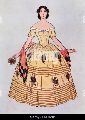 Lady wearing a ball dress, c.1860. In this style the skirt was in a deux jupes (two parts), decorated with flowers - Stock Photo
