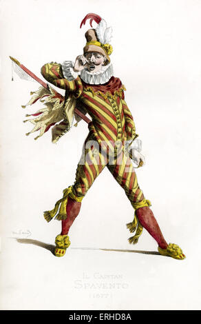 Il Capitano Spavento costume, 1577 - drawn by Maurice Sand, published in 1860. Commedia dell' Arte character. Italian - Stockfoto