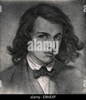 Rossetti, Dante Gabriel or Gabriel Charles Dante Rossetti - English poet, painter and translator 1828-1882.  Self - Stock Photo