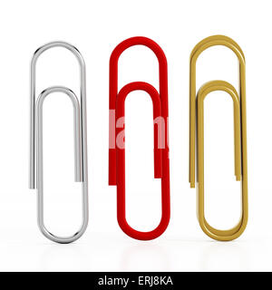 Paper clips isolated on white background. Clipping path included. - Stock Photo
