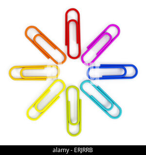 Multi colored paper clips isolated on white background. - Stock Photo