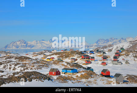 Colorful houses in the Kulusuk village Greenland - Stock Photo