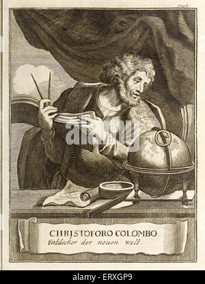 Christopher Colombus (1451-1506) with navigational instruments (holding divider and charts, compass, ruler and globe - Stockfoto