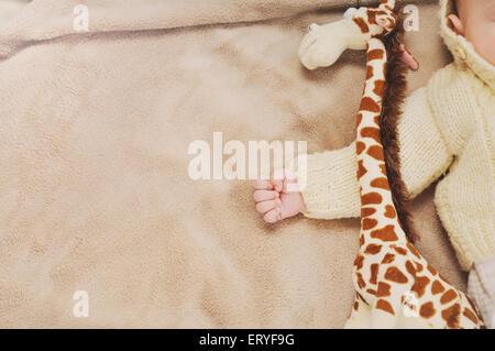 sleeping cute newborn baby, maternity concept, soft image of beautiful family - Stock Photo