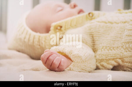 sleeping cute newborn baby, maternity concept, soft image of beautiful family - Stock Photo