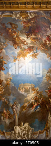 Panorama of the 18th century ceiling painting Apothéose d'Hercule by François Le Moyne in the Château de Versailles, - Stock Photo
