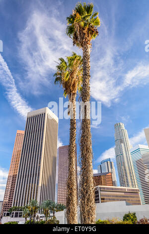 Los Angeles, California, USA palm trees and buildings. - Stock Photo