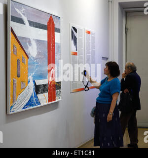 St. Petersburg, Russia, 10th June, 2015. Presentation of the exhibition of Antonio Meneghetti in the Marble Palace. - Stock Photo