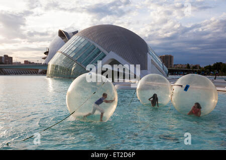 Hemisferic building with IMAX, Planetarium and Laserium in the City of Arts and Sciences in Valencia, Spain - Stock Photo