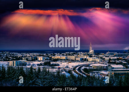 Reykjavik skyline at sunset, Iceland - Stock Photo