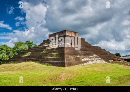Templo I, Maya ruins at Comalcalco archaeological site, Tabasco state, Mexico - Stock Photo