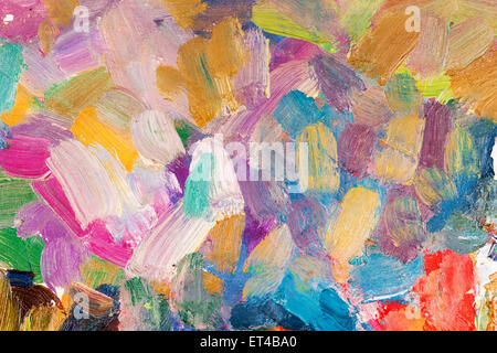 bright multicolored oil brush strokes as background - Stock Photo