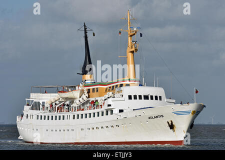 Passengervessel Atlantis inbound Cuxhaven from Helgoland - Stock Photo