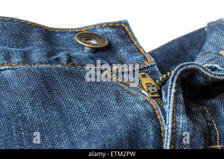 Close-up of open, unzipped and unbuttoned blue denim jeans isolated on white background - Stock Photo