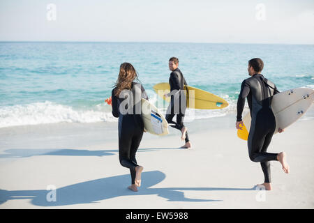 Group of friends on wetsuits with a surfboard on a sunny day - Stock Photo