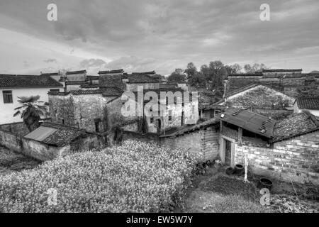 Rural landscape in Anhui province, China. black and white tone. - Stock Photo