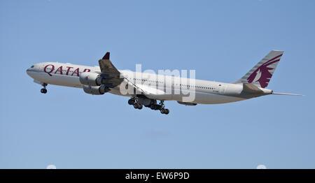 Qatar Airways Airbus a340 A7-AGB departing London-Heathrow Airport LHR - Stock Photo