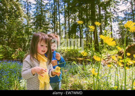 Boy and girl picking flowers in countryside - Stockfoto