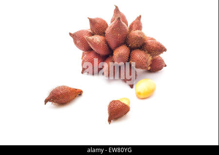 Some exotic fruits from Thailand on white background - Stock Photo