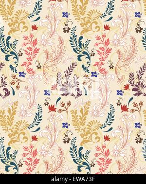 Vintage background with ornate elegant retro abstract floral design, multi-colored flowers and leaves on beige background - Stock Photo