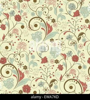 Vintage background with ornate elegant retro abstract floral design, multi-colored flowers and leaves on light yellow. - Stock Photo
