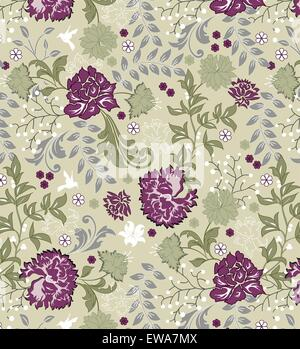 Vintage background with ornate elegant retro abstract floral design, multi-colored flowers and leaves on light green. - Stock Photo