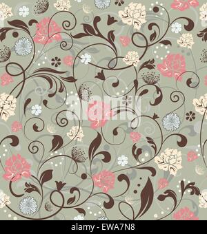 Vintage background with ornate elegant retro abstract floral design, multi-colored flowers and leaves on laurel - Stock Photo