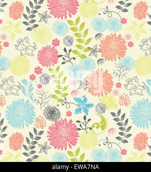 Vintage background with ornate elegant retro abstract floral design, multi-colored flowers and leaves on pale yellow. - Stock Photo