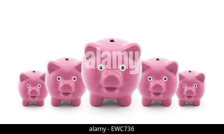 Group of pink piggy banks - Stockfoto
