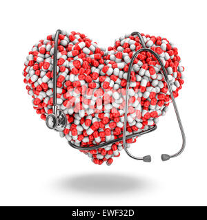 Heart pills stethoscope, 3D render of medicine capsules forming heart with stethoscope wrapped around it - Stock Photo