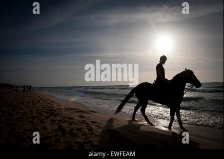 Horse rider on the beach in the Gaza Strip, occupied Palestinian territory. - Stockfoto