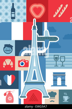 Illustrative collage representing city life and landmarks in Paris, France - Stock Photo