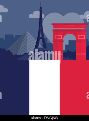 Illustrative image representing famous landmarks of Paris, France - Stock Photo