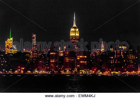 Empire State Building and other skyscrapers of Midtown Manhattan, New York, New York USA. - Stock Photo