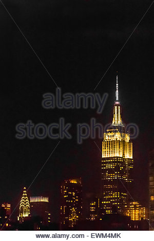 Empire State Building and Chrysler Building at night, New York, New York USA. - Stock Photo