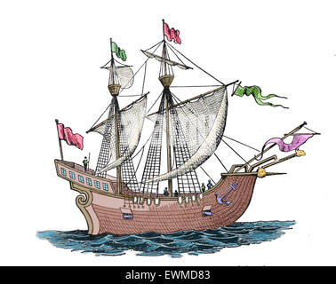 Victoria. Spanish carrack. 1st ship to successfully circumnavigate the World. 1518-19. Explorers: F. Magellan and - Stock Photo