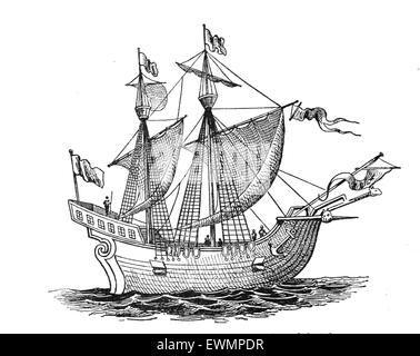 Victoria. Spanish carrack. 1st ship to successfully circumnavigate the World. 1518-19. Explorers: F.Magellan and - Stock Photo