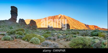 Tenerife, panoramic landscape view of Roques de Garcia and Mount Teide, Canary Islands, Spain - Stock Photo