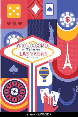 Illustrative collage of casino  and landmarks at Las Vegas, USA - Stock Photo