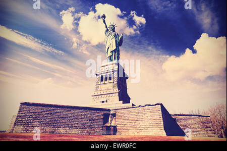 Vintage filtered photo of the Statue of Liberty in New York City, USA. - Stock Photo