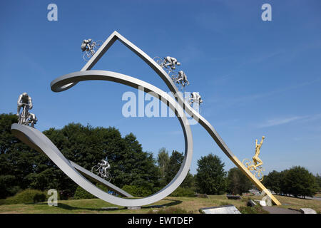A monument dedicated to the Tour de France, between Pau and Tarbes on the 'of the Pyrenees' rest area of the French - Stock Photo